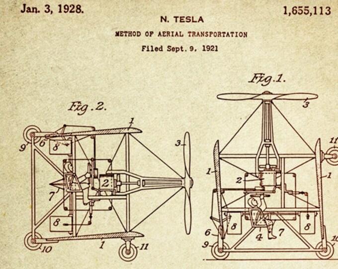 Method of Aerial transportation Patent Poster wall decor (1921 by Nikola Tesla)