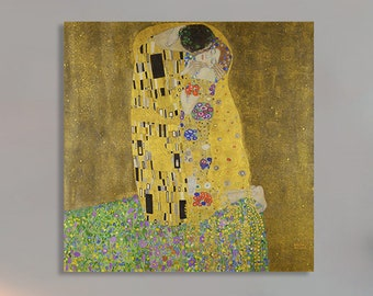 The Kiss -Gustav Klimt  (1903) Masterpiece Reproduction Printed in Refined Aluminum