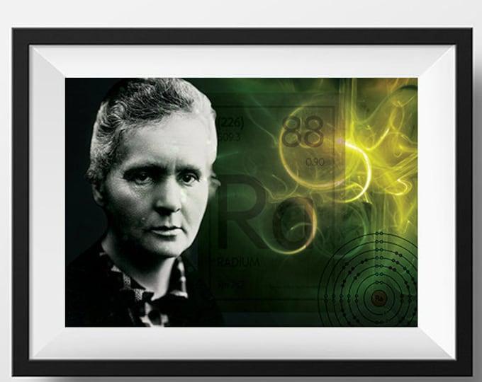 Marie Curie Scientist Portrait Poster