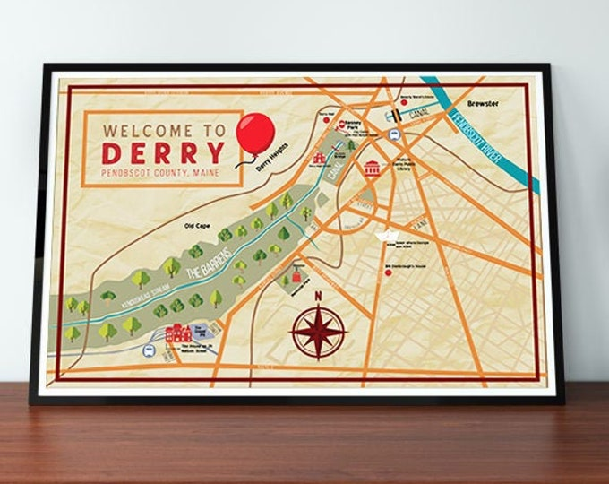 Stephen King's Derry(IT) , Maine Map Wall Art