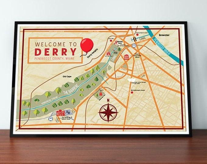 Stephen King's Derry, Maine Map Wall Art