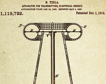 Nikola Tesla's Apparatus for transmitting electrical energy Patent Poster wall decor (1914 by Nikola Tesla)