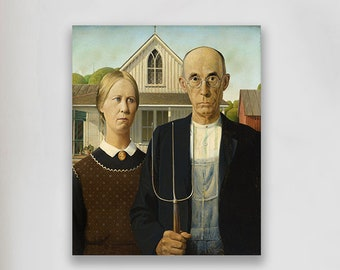 American Gothic by Grant Wood  (1930) Masterpiece Reproduction Printed in Refined Aluminum