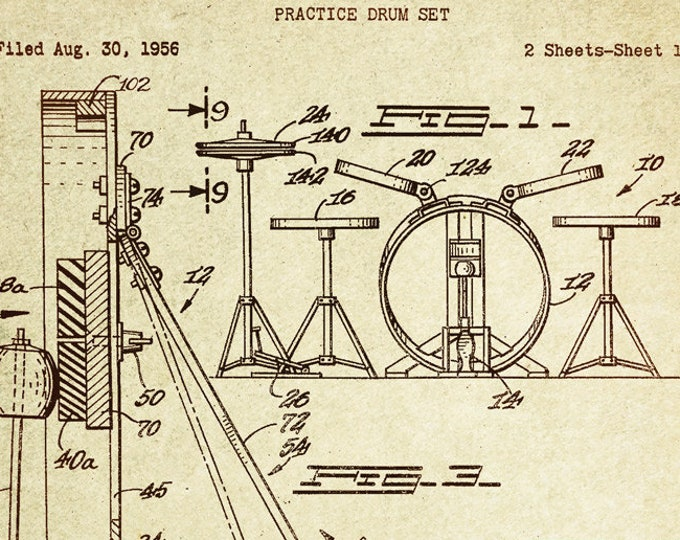 Drum Set Patent Poster Wall decor (1959 by F.J.Ippolito)
