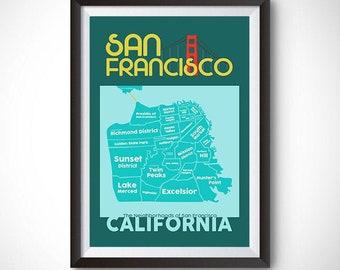 San Francisco Neighborhood Map Wall Art