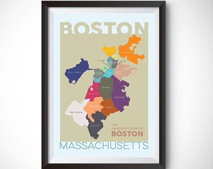 Boston Neighborhood Map Wall Art