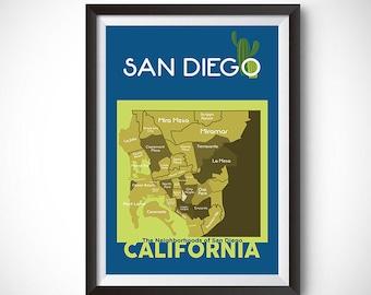 San Diego Neighborhood Map Wall Art