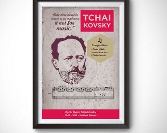 Pyotr Ilyich Tchaikovsky: Classical Composer Poster Wall Art