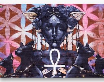 Feminine Cat Goddess Graffiti wall art printed on refined aluminum