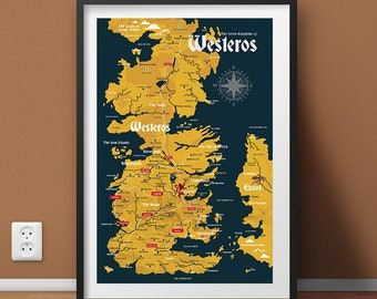 Map of the Seven Kingdoms of Westeros: Game of Thrones Wall Art