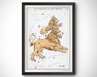 Leo Major and Leo Minor Constellation (Urania's Mirror) Wall Art