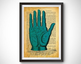 Vintage Inspired Hand Palmistry Page Art