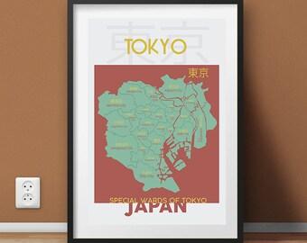 Tokyo Ward Map Wall Art