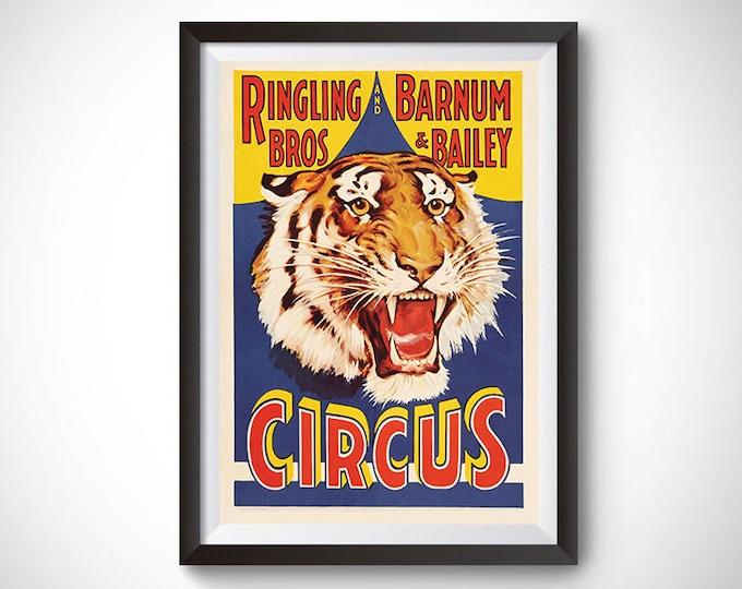 Barnum Bailey Ringling Bros Tiger Vintage Ad Poster