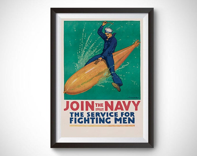Join the Navy Propaganda Vintage Ad Poster