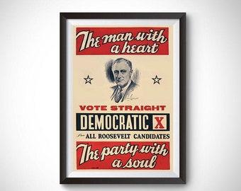 Franklin Roosevelt Campaign Vintage Ad Poster (1940)