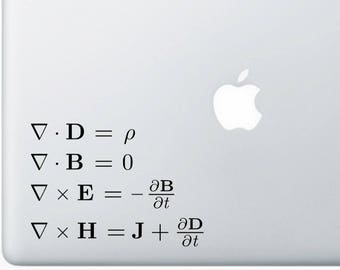 Maxwell's equations decal for wall computer or bumper sticker