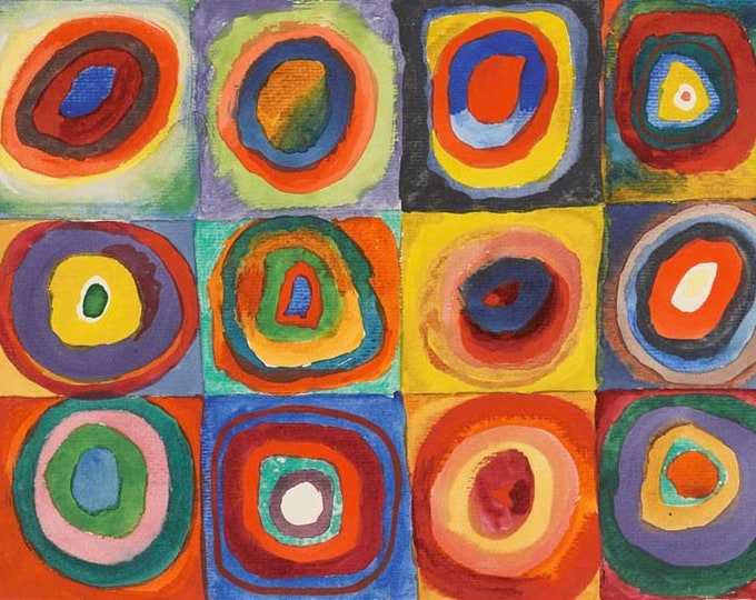 Squares with Concentric Circles (1913) by Wassily Kandinsky Masterpiece Reproduction Printed in Refined Aluminum