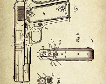 Gun, Fire arm Patent Poster wall decor (1911 by J.M Browning)