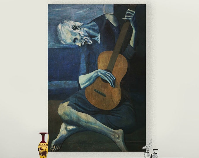 The Old Guitarist (1903-1904) by Pablo Picasso Masterpiece Reproduction Printed in Refined Aluminum
