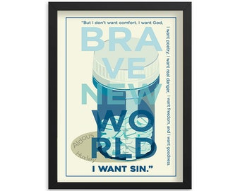 Brave New World by Aldous Huxley Book Poster