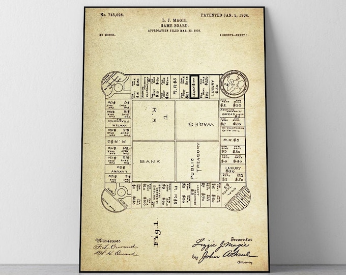 Landlord's Game (The original Monopoly)  Patent Poster Wall Decor ( Registered in 1903 by L.J Maggie)