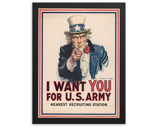 I Want You for U.S. Army, Uncle Sam (1917) Vintage Ad Poster