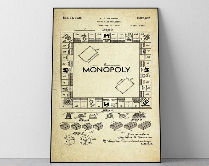 Monopoly Game Board Patent Poster Wall decor (1935 by C.B Brown)