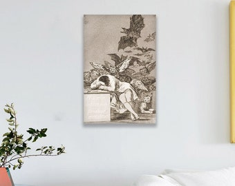 The Sleep of Reason Produces Monsters (1799) by Francisco Goya Masterpiece Reproduction Printed in Refined Aluminum