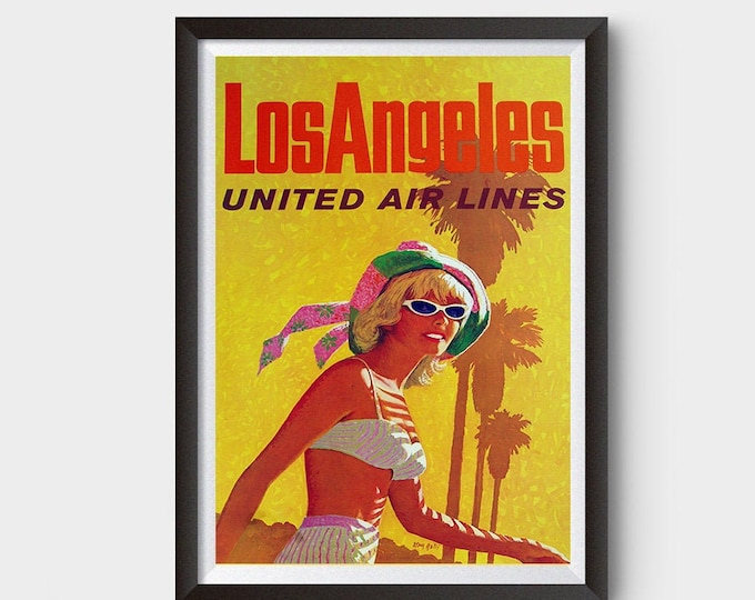 Los Angeles, United Airlines Vintage Ad Poster