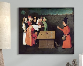 The Conjurer by Hieronymus Bosch Masterpiece Reproduction Printed in Refined Aluminum
