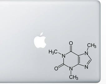 Caffeine Molecule Decal for computer , wall or bumper sticker