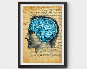 Vintage Head Showcasing Brain with writings of the Black Death Inspired Art Poster