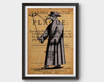 Vintage Plague Doctor, Black Death Inspired Art Poster