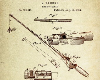 Fishing Tackle Patent Poster Wall Decor ( Registered in 1884 by A wakeman)