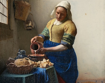 The Milkmaid (1657-1658) by Johannes Vermeer Masterpiece Reproduction Printed in Refined Aluminum