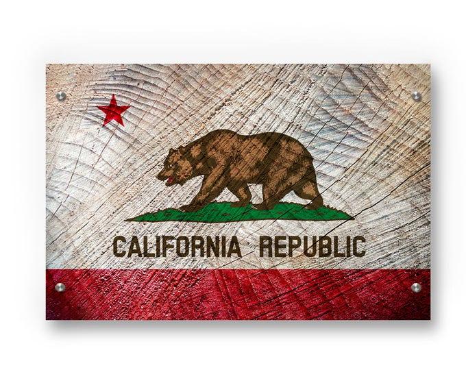 California State Flag Graffiti Wall Art Printed on Brushed Aluminum