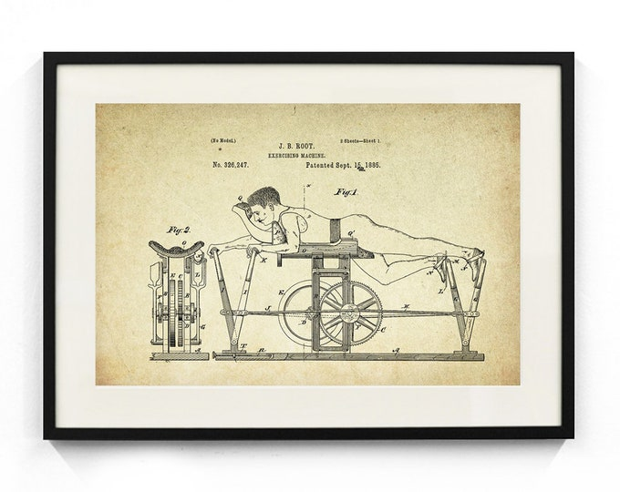 Exercising Machine Patent Poster (1885, J.B. Root)