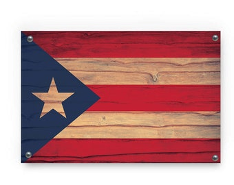 Puerto Rico State Flag Graffiti Wall Art Wood Texture Printed in Aluminum/PVC/Acrylic