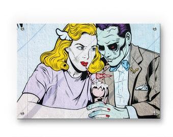 Zombie Love Graffiti wall art printed on refined aluminum