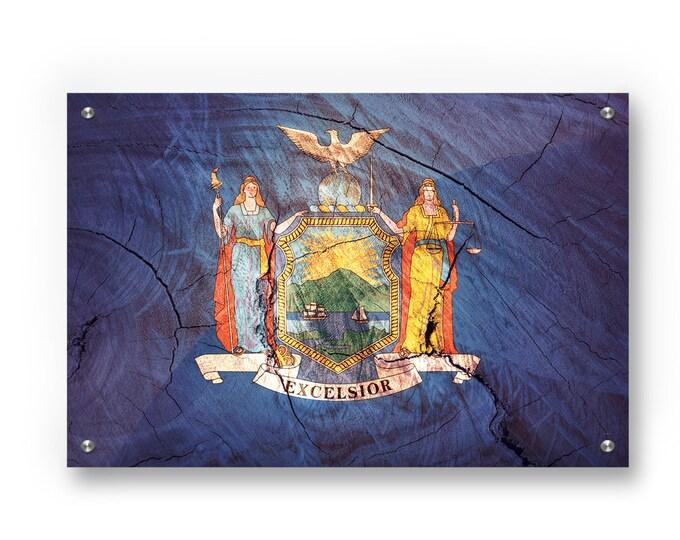 New York State Flag Graffiti Wall Art Printed on Brushed Aluminum