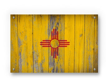 New Mexico State Flag Graffiti Wall Art Printed on Brushed Aluminum