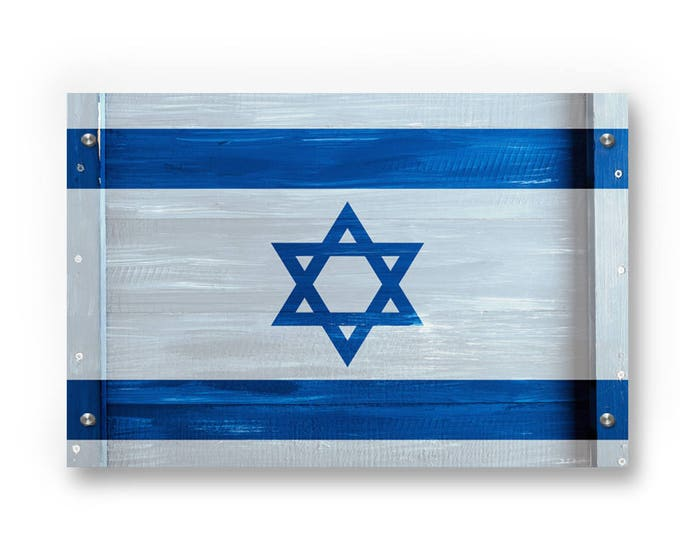 Israel Flag Graffiti Wall Art Printed on Brushed Aluminum