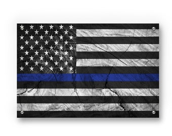 Thin Blue Line American Flag (Honor Law Enforcement) Graffiti Wall Art Printed on Brushed Aluminum