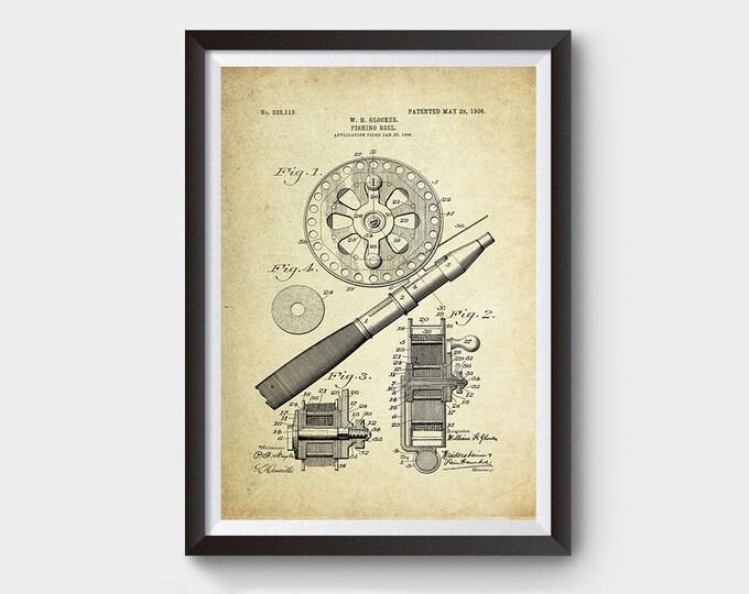 Fishing Reel Patent Poster (1906, W.H. Glocker)