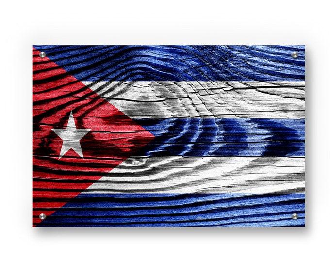 Cuba Flag Graffiti Wall Art Printed on Brushed Aluminum