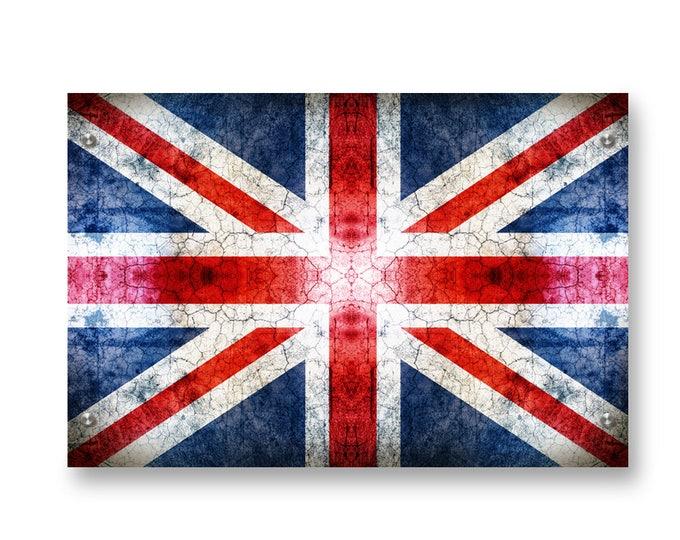 United Kingdom (Union Jack) Flag Graffiti Wall Art Printed on Brushed Aluminum