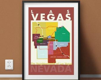 Las Vegas Neighborhood Map Wall Art