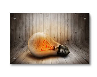 Wood Bulb Wall art decor printed on refined aluminum