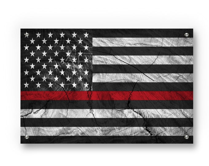 Thin Red Line American Flag (Honor Fire Fighters) Graffiti Wall Art Printed on Brushed Aluminum